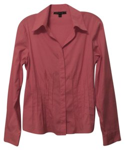 Lafayette 148 New York Medium Like Shirt Button Down Fitted Top Coral