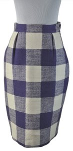 Saint Laurent Yves Check Above Knee Indigo Straight Skirt Multi-Color Purple ivory