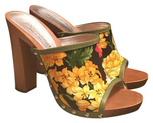 Dolce&Gabbana floral, yellow, orange, red, green, black Mules