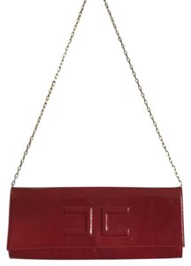 Elisabetta Franchi Lacquered Evening Glamorous Red Clutch