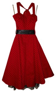 H&R London short dress Red Polka Dot Swing Halter Tulle on Tradesy