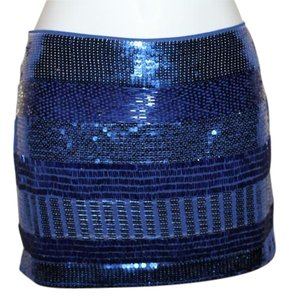 Urban Behavior Beaded Mini Mini Beaded Mini Skirt Navy Blue Sequin & Beading
