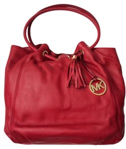 Michael Kors Ring Leather Tassel Color Tote in SCARLET