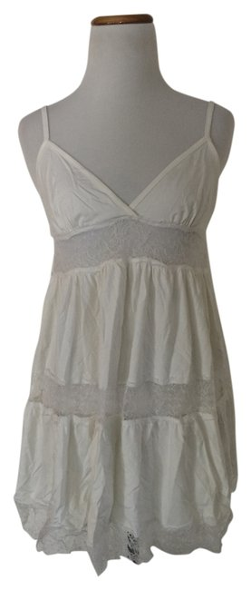 Item - White Lace Top Knee Length Short Casual Dress Size 8 (M)