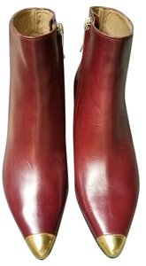 Anyi Lu Rare Ankle BORDEAUX with gold tip toe Boots