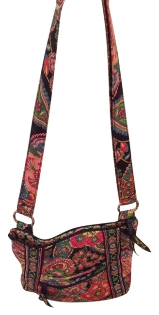 Item - Purse Multi-floral Cotton Cross Body Bag