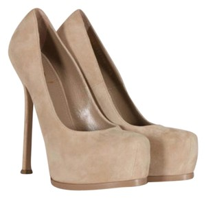 Saint Laurent Ysl Yves Suede Platforms Sand Pumps