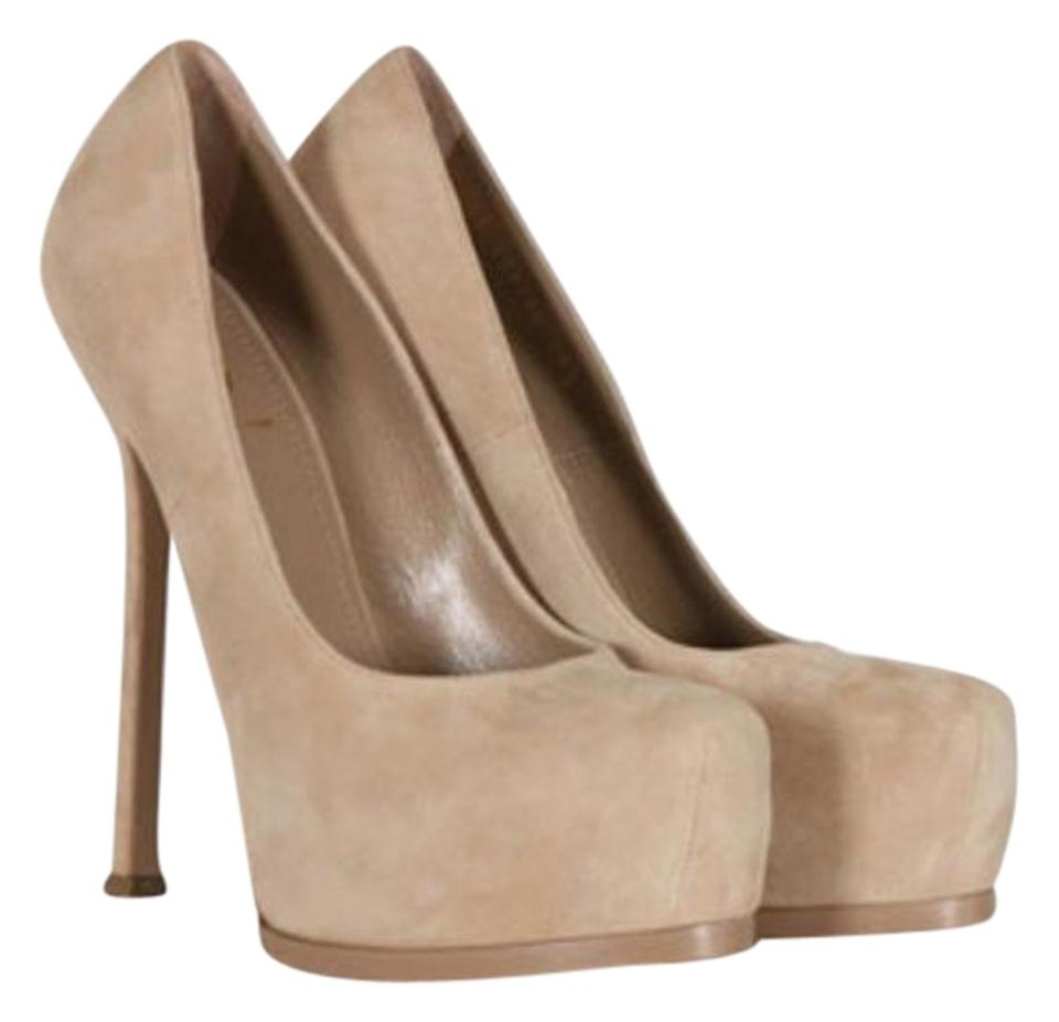 65603a6edae Saint Laurent Sand Yves Tribtoo Suede Pumps Size US 9 Regular (M, B ...