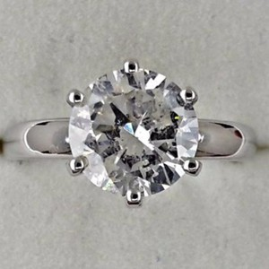 14k White Gold 2.11 Ct Round Diamond Made Of 14 Kt - Size 6 Engagement Ring