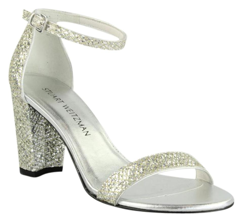 Stuart Nearlynude Weitzman Silver Bridal Collection Nearlynude Stuart Chrome Glitter Sandals 54a729