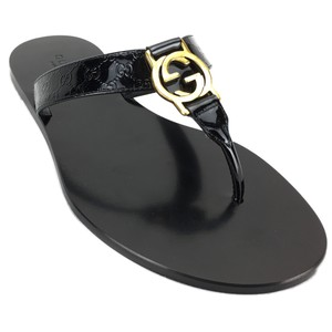 Gucci 344938 Patent Leather Leather Black Sandals