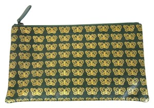 Bottega Veneta Leather Pouch Green/Gold Clutch