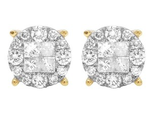 Jewelry Unlimited 14K Yellow Gold Diamond Princess Quad Round Stud Earring 1.25 Ct 8MM