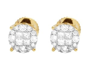 Jewelry Unlimited 14K Yellow Gold Diamond Princess Quad Round Stud Earring 0.50 Ct 6.5MM