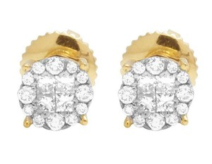Jewelry Unlimited 14K Yellow Gold Diamond Princess Quad Round Stud Earring 0.40 Ct 5.5MM
