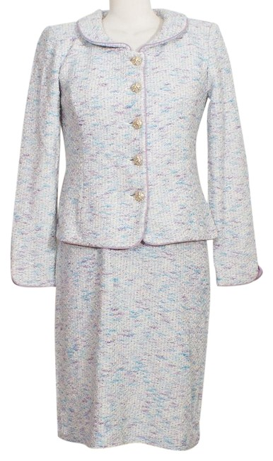 Item - White Lavender Blue Tweed Boucle Wool Blend Knit Dress Skirt Suit Size 6 (S)