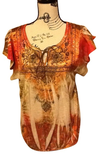 One World Crochet Lace Floral Short Sleeve Relaxed Top Tangerine/Fire