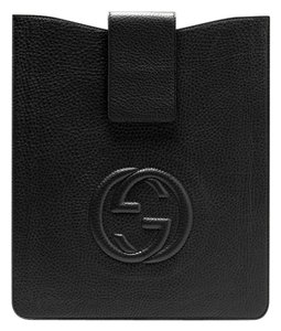 Gucci GUCCI Soho GG Black textured leather iPad Sleeve Black Style 363420A
