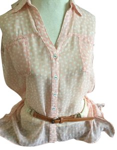 Double Zero Sheer Top pink polka dot