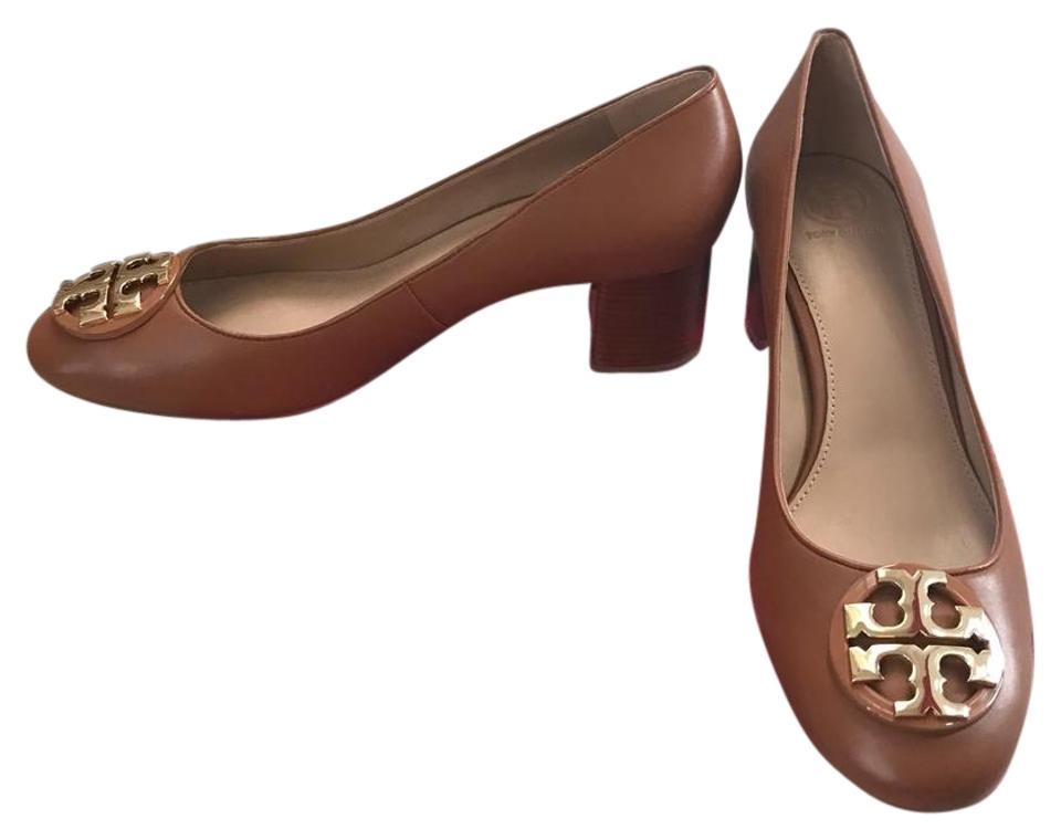 89a0e240c7c9 Tory Burch Royal Tan  Gold 8.5m   Janey   50mm Calf Leather Pumps ...