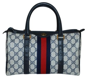 2d68779f30d4 Gucci Accessory Collection Made In Italy Monogram Canvas Leather Satchel in  Blue