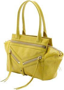 Botkier Leather Yellow Designer Studded Gold Satchel in citron