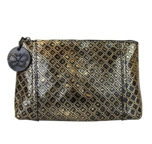 Bottega Veneta Intrecciomirage Leather Pouch Gold/Black Clutch
