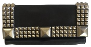 Betsey Johnson black leather with metal studs Clutch