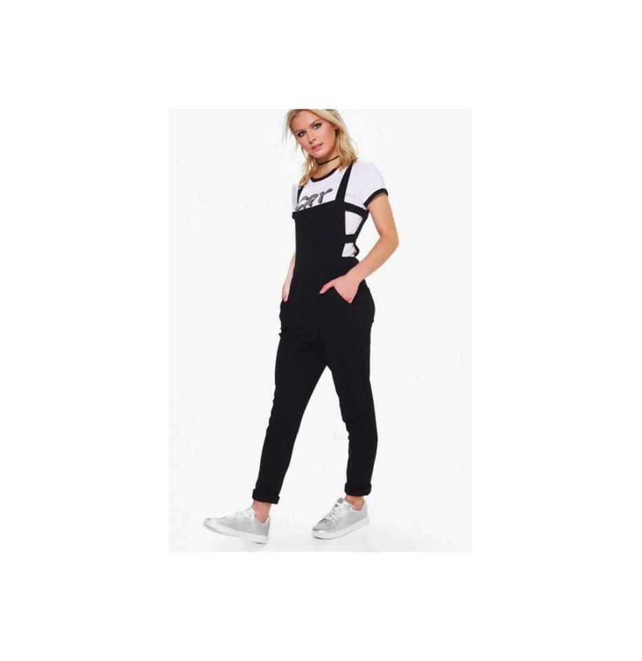 Black Holly Cut Side Pinafore Style Dungarees Size Us 10 Romper With Hood Boohoo Dress