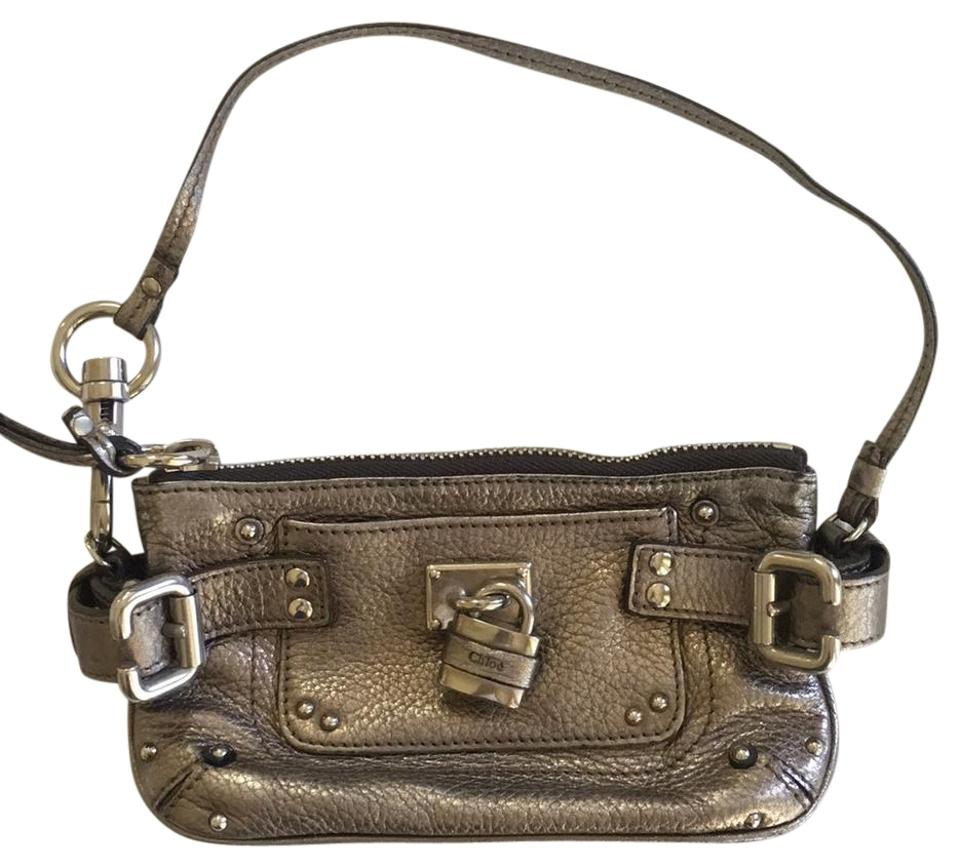 00b53c2458 Chloé Paddington Pewter Leather with Lock and Key Wristlet - Tradesy
