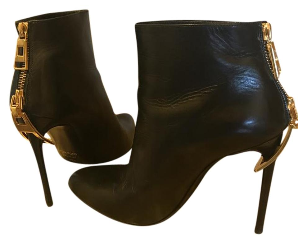 278ceea2d8 Tom Ford Black Zipper Heel Leather Ankle Boots/Booties Size EU 36.5 ...