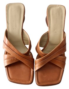 Kenneth Cole Leather Open Toe Sandals Brown Mules