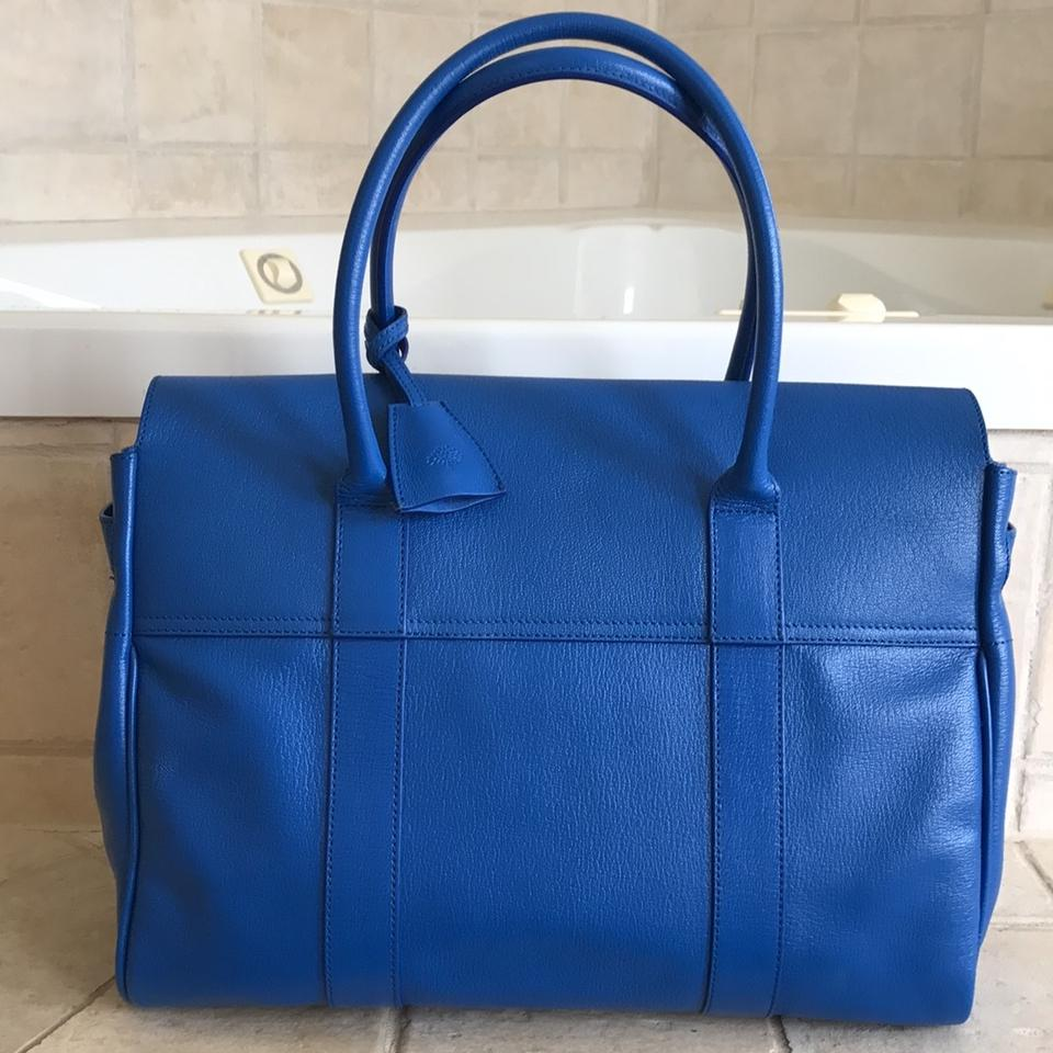 Mulberry New Bayswater Bluebell Shiny Goat Blue Leather Tote - Tradesy 9a1cf812714f1