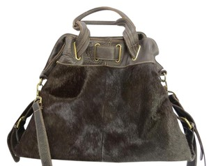 Aqua Madonna Hobo Cowhide Leather Satchel in Brown