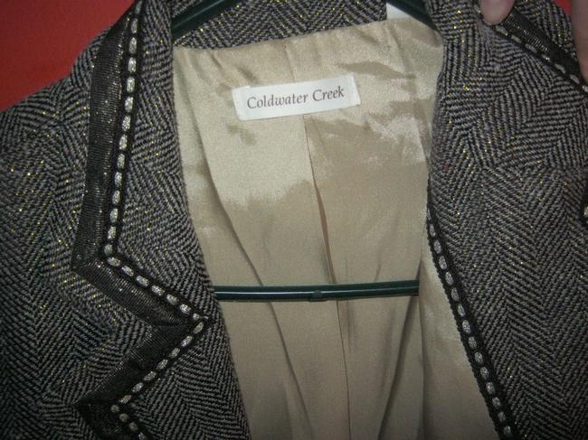 Coldwater Creek brown and cream with gold metallic Blazer