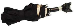 Burberry Prorsum Black Fox Handle Folding Umbrella