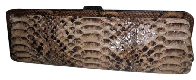 Item - New Monroe Long Frame Brown Python Skin Leather Clutch