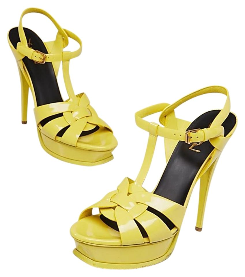 9d18f46f7ce Saint Laurent Yellow Tribute Yves Patent Leather Sandals Size US ...