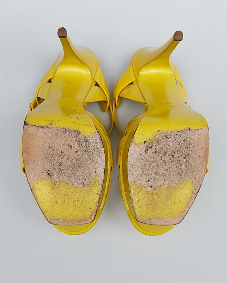 f0264fc284 Saint Laurent Yellow Tribute Yves Patent Leather Sandals Size US ...