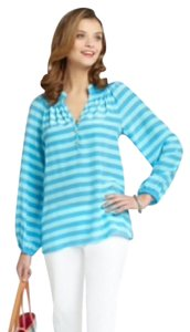 Lilly Pulitzer Nautical Top Flutter Blue Stripe
