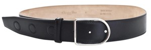 Dior Christian Dior Black Leather 35mm Belt with D Buckle Sz Small NEW with