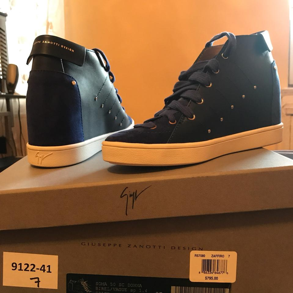 d3277931f9 Giuseppe Zanotti Zaffiro ( Blue) Soma 50 Leather High-top Sneakers Wedges  Size US 7 Regular (M