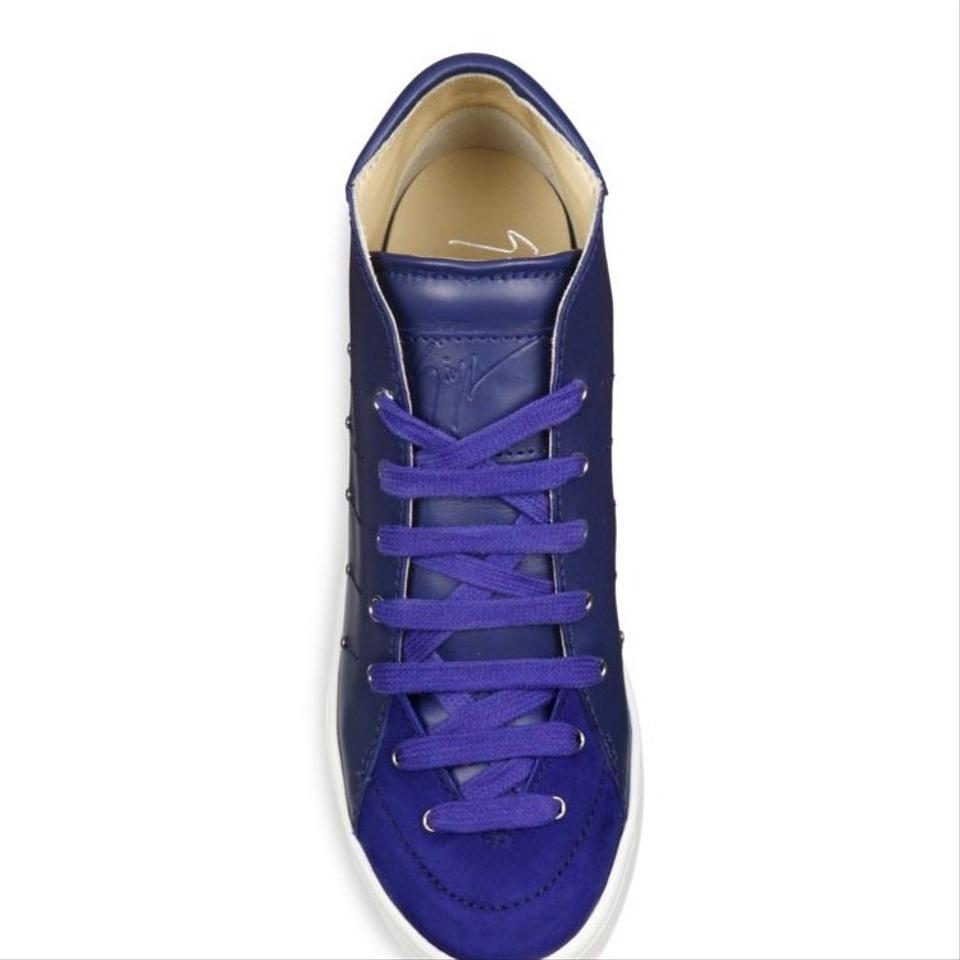 b538e3392e Giuseppe Zanotti Zaffiro ( Blue) Soma 50 Leather High-top Sneakers ...