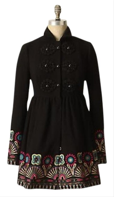 Anthropologie Black Through-the-lens Elimovna Plenty By Tracy Reese Coat Size 4 (S) Anthropologie Black Through-the-lens Elimovna Plenty By Tracy Reese Coat Size 4 (S) Image 1