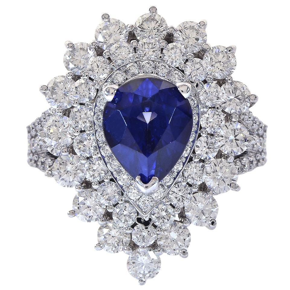 sapphire pear jewelers platinum shaped ring beckers blue engagement classic in