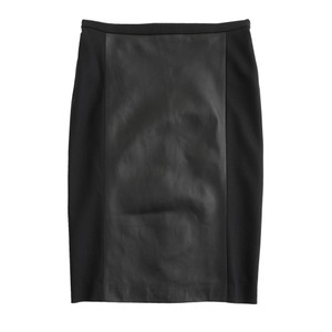 J.Crew Collection Pencil Skirt Black, Black Leather