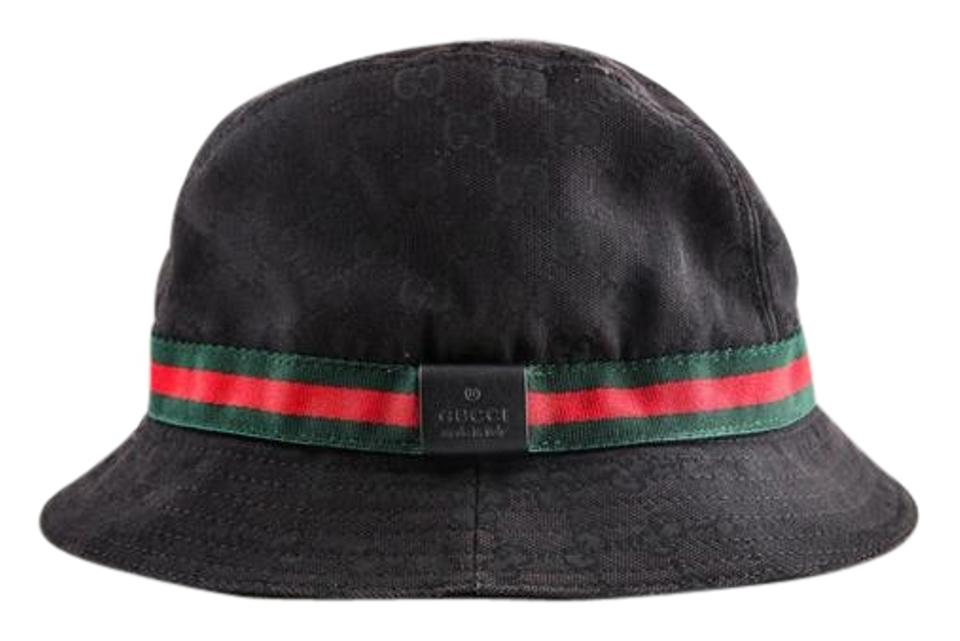 gucci black gg guccissima web stripe bucket hat tradesy. Black Bedroom Furniture Sets. Home Design Ideas