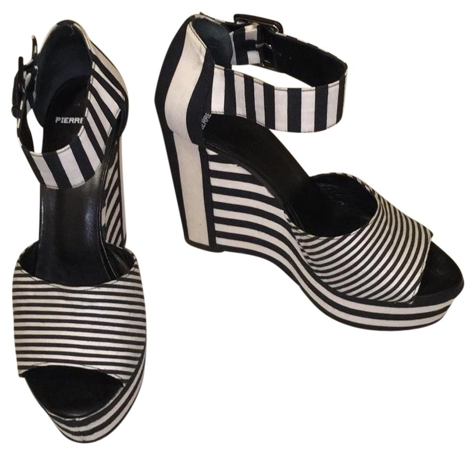 Pierre Hardy Black   White Buckle Ankle Strap Stripe Canvas Sandals Wedges cb0624995ff6