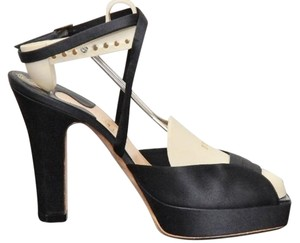 Michel Perry Satin Wedge Ankle Strap navy Platforms