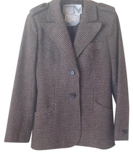 Valentino Vintage Wool Checkered Buttons brown Blazer